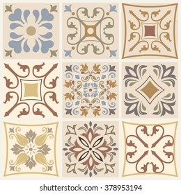 Collection of 9 ceramic tiles in brown, beige and blue