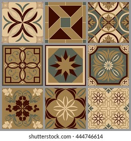 Collection of 9 ceramic tiles in retro colors