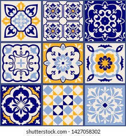 Collection of 9 ceramic tiles in turkish style. Seamless colorful patchwork from Azulejo tiles. Portuguese and Spain decor. Islam, Arabic, Indian, Ottoman motif. Vector Hand drawn background