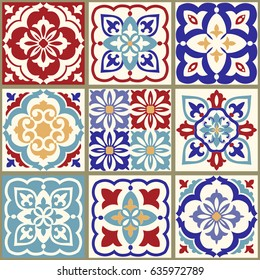 Collection of 9 ceramic tiles in turkish style. Seamless colorful patchwork.  Endless pattern can be used for ceramic tile, wallpaper, linoleum, textile, web page background. Vector