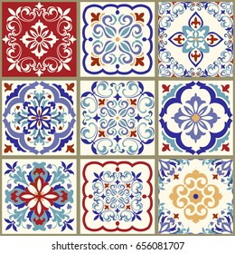 Collection of 9 ceramic tiles in turkish style. Seamless colorful patchwork. Endless pattern can be used for ceramic tile, wallpaper, linoleum,