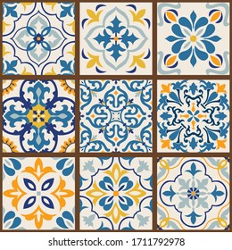 Collection of 9 colorful tiles. Seamless patchwork tile with Islam, Arabic, Indian, Ottoman motives. Majolica pottery tile, blue, yellow azulejo, original traditional Portuguese and Spain decor.