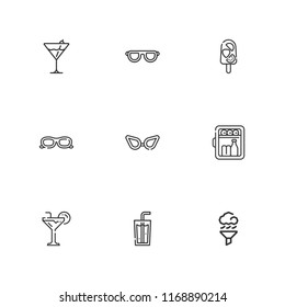 Collection of 9 cool outline icons include icons such as air cleaning, minibar, cocktail, soda, sunglasses, glasses