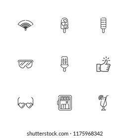 Collection of 9 cool outline icons include icons such as minibar, like, glasses, fan, popsicle