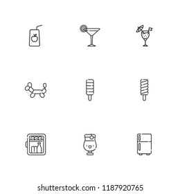 Collection of 9 cool outline icons include icons such as cocktail, minibar, juice, popsicle, fridge