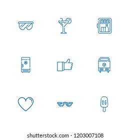 Collection of 9 cool outline icons include icons such as minibar, glasses, cocktail, ice, freezer, like