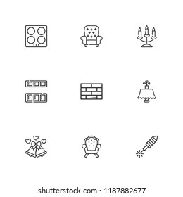 Collection of 9 decor outline icons include icons such as fireworks, brick, kitchen, candelabra, cupboard, armchair, wedding bells
