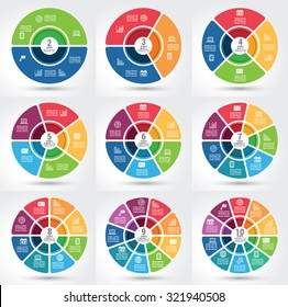 Collection of 9 different segmented infographics chart with the same theme