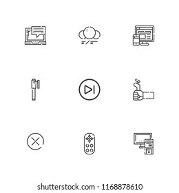 Collection of 9 digital outline icons include icons such as next, computer, close, game controller, remote control, pc, pen, molecule