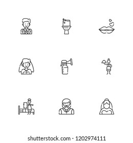 Collection of 9 female outline icons include icons such as waitress, maid, breast pump, bride, woman, toilet, kiss