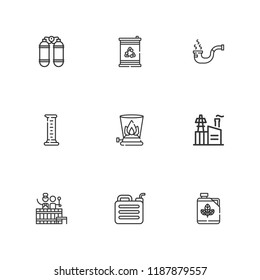 Collection of 9 gas outline icons include icons such as industry, cylinder, biodiesel, barrel, pipe, gasoline, oxygen