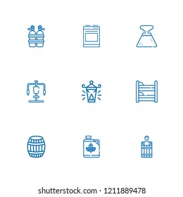 Collection of 9 gas outline icons include icons such as biodiesel, oxygen tank, geyser, barrel, bunk, oil lamp, gym station