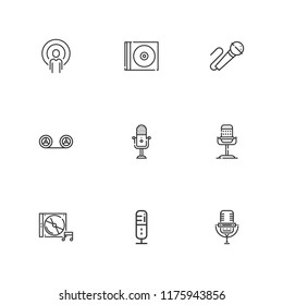 Collection of 9 mic outline icons include icons such as recording, microphone, podcast, karaoke