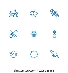Collection of 9 moon outline icons include icons such as asteroid, astronaut, black hole, eclipse, hubble space telescope, mars rover, nebula, saturn