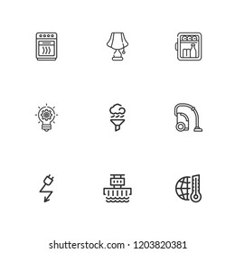 Collection of 9 outline icons include icons such as air cleaning, electricity, global warming, hydroelectric power station, idea, oven, minibar, vacuum cleaner