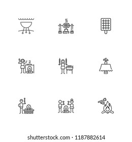 Collection of 9 picnic outline icons include icons such as barbecue grill, smore, shashlik, campfire, roast, marshmallow, bbq, table