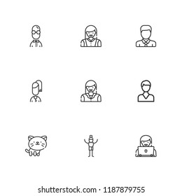 Collection of 9 profile outline icons include icons such as user, avatar, man, cat