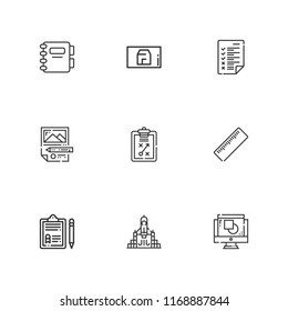 Blueprint pen ruler images stock photos vectors shutterstock collection of 9 project outline icons include icons such as agenda rocket launch blueprint malvernweather Images