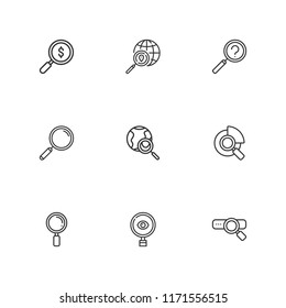 Collection of 9 scrutiny outline icons include icons such as search, investigation, loupe