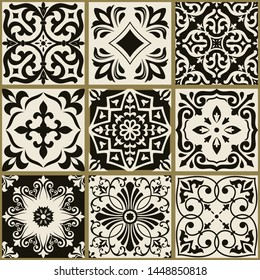 Collection of 9 seamless tiles with Islam, Arabic, Indian, ottoman motifs. Majolica pottery tile. Portuguese and Spain decor. Ceramic tiles in black and beige. Vector illustration