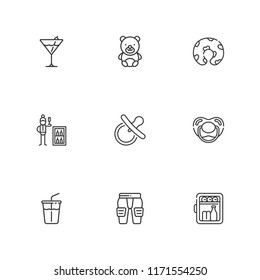 Collection of 9 soft outline icons include icons such as minibar, teddy bear, cocktail, soft drink, pads, pillow