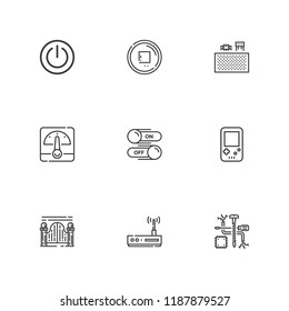 Collection of 9 switch outline icons include icons such as gameboy, power button, voltmeter, stop button, switch, gateway, components