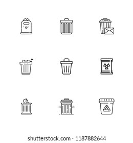 Collection of 9 trashcan outline icons include icons such as waste, trash can, trash, recycle bin