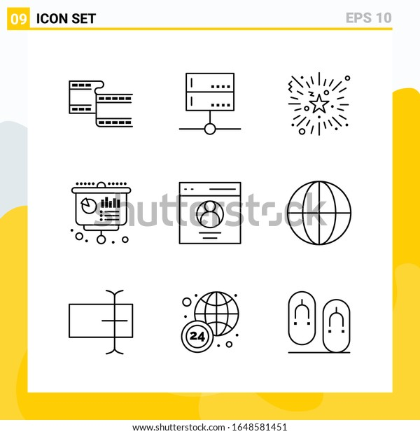 Collection of 9 Universal Line Icons. Icon Set for Web and Mobile.