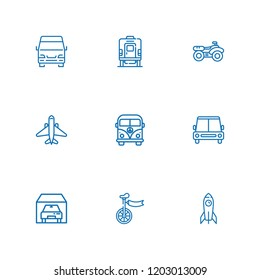 Collection of 9 vehicle outline icons include icons such as car, minivan, garage, quad, van, plane, rocket, train