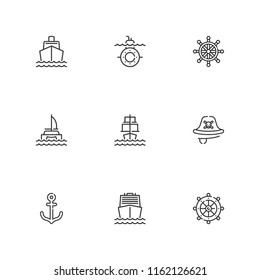 Collection of 9 vessel outline icons include icons such as boat, catamaran, sailing ship, submarine, rudder, pirate