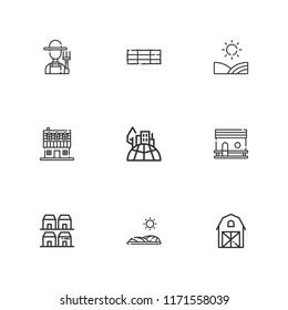 Collection of 9 village outline icons include icons such as cityscape, farm, neighborhood, farm house, field, chicken coop, hay bale