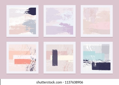 Collection of abstract artistic vector texture templates with pastel colored brush strokes in contemporary compositions