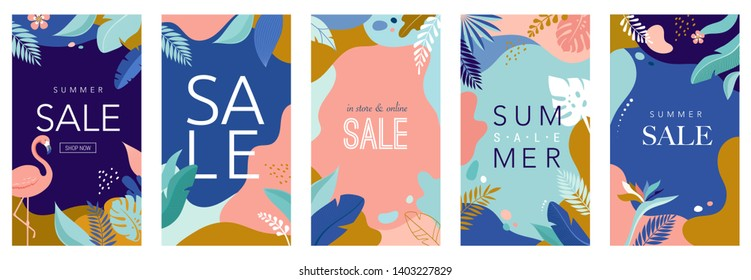 Collection of abstract background designs, summer sale, social media promotional content. Vector illustration