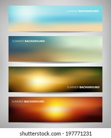 Collection of abstract blurred banners with sea and summer colors.