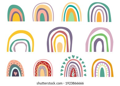 Collection of abstract boho rainbows hand drawn isolated. on a white background. Stylish elements for children's patterns, holiday decoration.