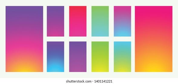 Collection abstract colorful backgrounds. Social media gradient background. Mobile backgrounds mockup. Social media concept. Vector illustration. EPS 10
