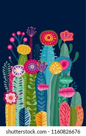 Collection of abstract colorful plants  and cacti with flowers, eps10 vector
