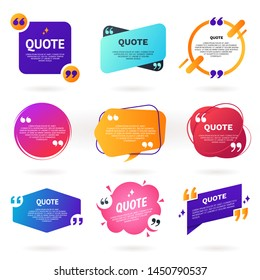 Collection of abstract colorful quote text boxes with quotes symbols. Geometric banner template in different styles. Speech bubble set. Remark frame for your design. Modern badges for promotion.