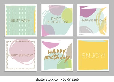 collection of abstract creative birthday cards hand drawn textures colorful