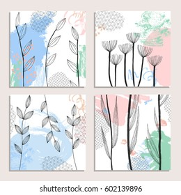 Collection of abstract creative cards with hand-drawn blots, stripes and flowers. Modern artistic header or background. Contemporary graphic design. Vector illustration.