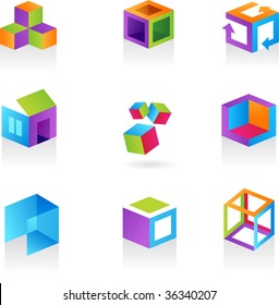 Collection of abstract cube icons