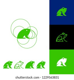 Collection of abstract frog logos with geometric shapes