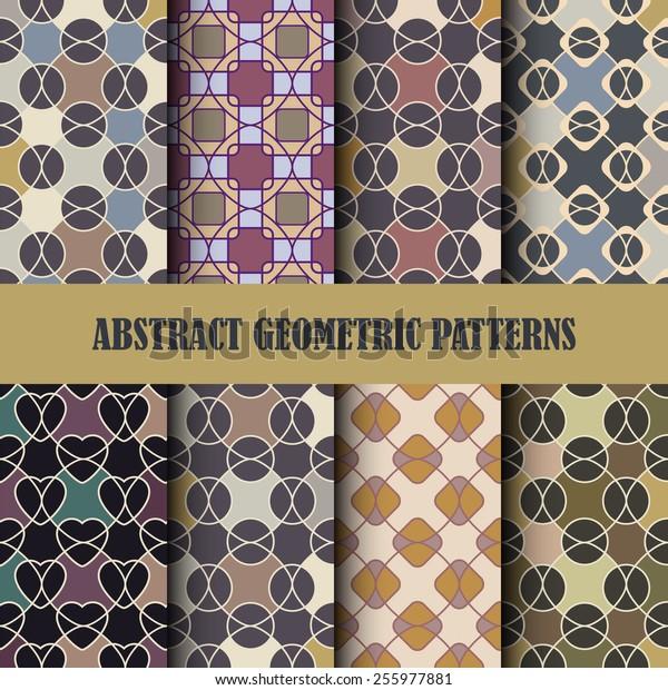 Collection of abstract geometric patterns. Vector seamless texture