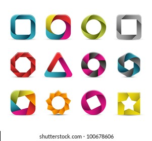 Collection of abstract graphic icons.