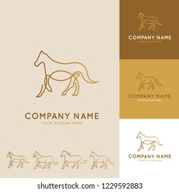 Collection of abstract horse logos with geometric shapes