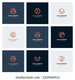Collection of abstract logos and combination of forms