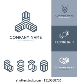 collection of abstract and modern gray logos with geometric shapes