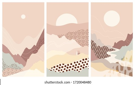 Collection of abstract mountain landscapes. Beautiful background, sceneries. Warm, pastel colors. Trendy, modern template for posters, stories, banners. Elegant design