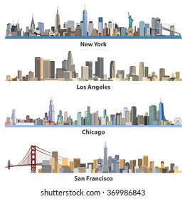 collection of abstract United States urban city skylines illustrations