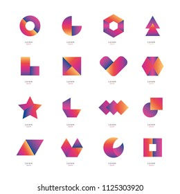 Collection of abstract vector icons in luxurious rainbow gradient.
